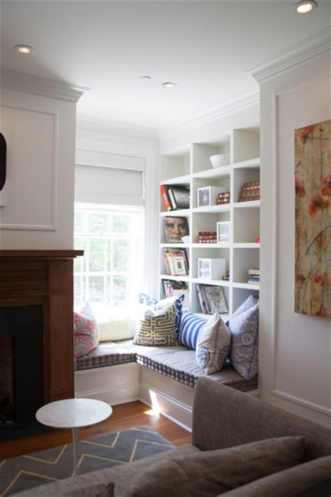 fireplace  built  window seat transitional living room