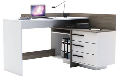 bureau thales bureau d 39 angle thales à 3 tiroirs blanc décor chêne