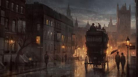 painting london rainy  london wallpaper