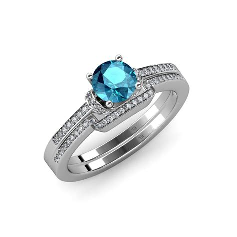 london blue topaz diamond si2 i1 g h engagement ring wedding band 1 35 ct tw in 14k white