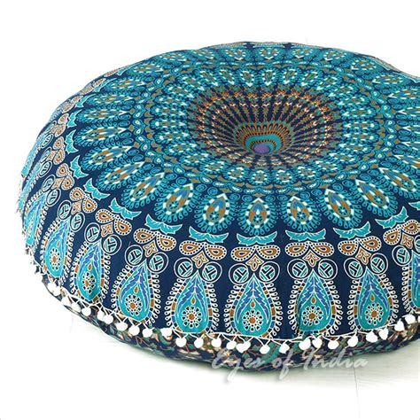 meditation cusions 32 quot blue mandala floor pillow cushion seating throw cover