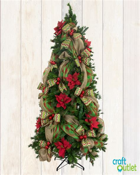 christmas tree decorating with burlap and deco mesh