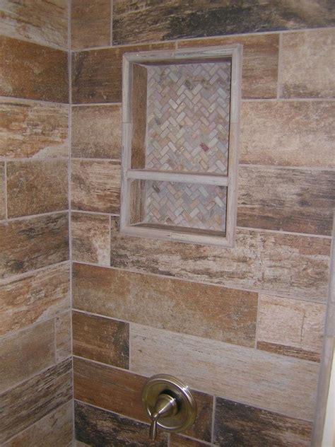 rustic plank style porcelain tile  slate niche