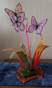 3d art sculpture Abstract Flower with butterflies on a ...