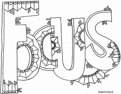 Coloring Pages Doodle Word Focus Sheets Words