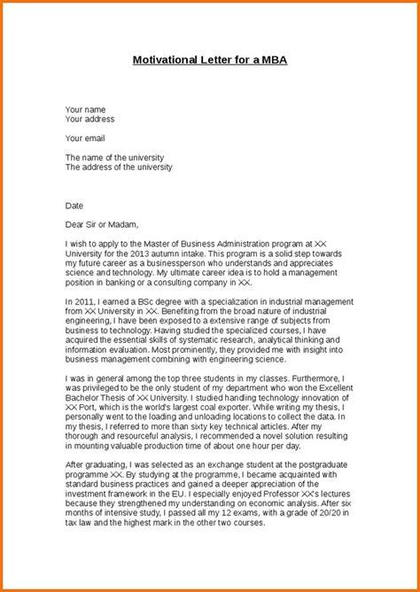 Mba Resume Sle by Evs Motivation Letter Sle Motivational For Mba