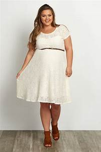 ivory lace belted plus maternity dress With robe pour femme ronde elegante