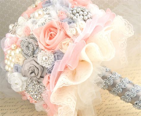 Brooch Bouquet Wedding Jeweled Pink Blush Gray Cream