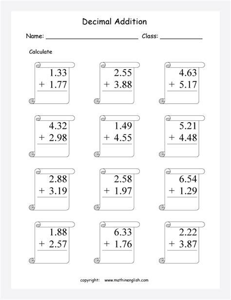 basic adding and subtracting decimals worksheets decimal