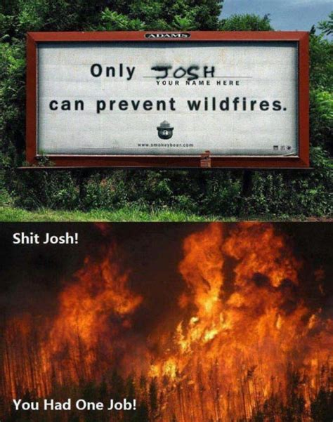 Only You Can Prevent Forest Fires Meme - josh s one job