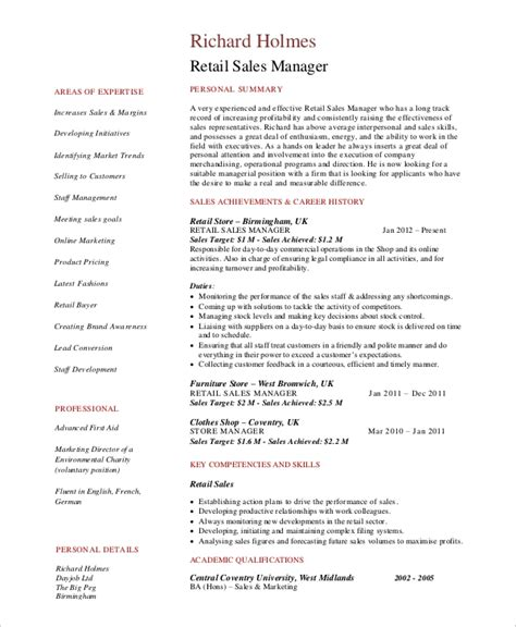 Retail Sales Manager Resume Exles by 8 Retail Manager Resumes Free Sle Exle Format