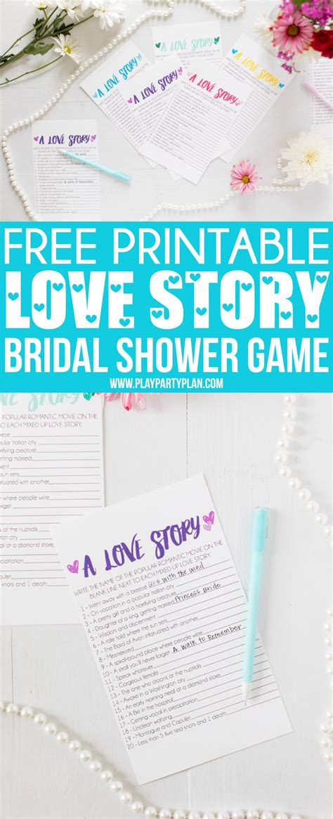 To Play At A Bridal Shower - free printable story bridal shower play plan