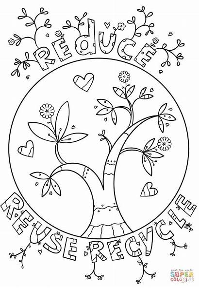 Recycle Recycling Reduce Reuse Coloring Pages Printable