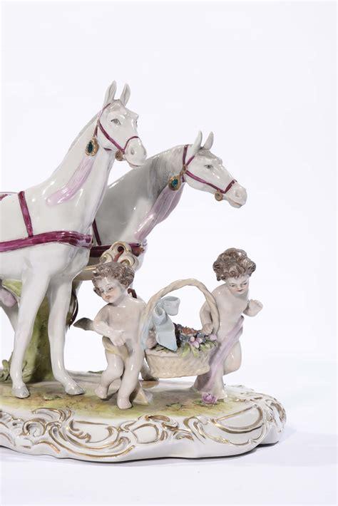 cavalli con carrozza gruppo in porcellana raffigurante carrozza con cavalli e