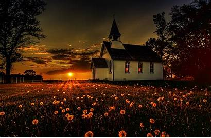 Church Religious Backgrounds Country Churches Desktop Sunset