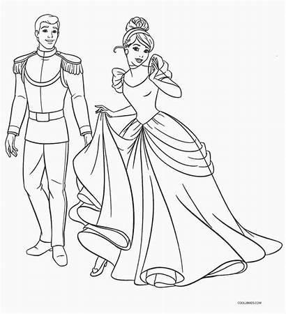 Cinderella Coloring Pages Princess Printable Disney Colouring