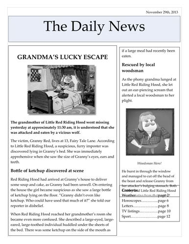 Newspaper Reports Freyasmum Teaching Resources
