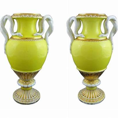 Meissen Pair Snake Handled Yellow Urns Porcelain