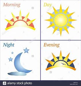 Morning day evening night icon set Stock Vector Art ...