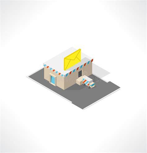 bureau de poste 2 bureau de poste bâtiment isométrique illustration de