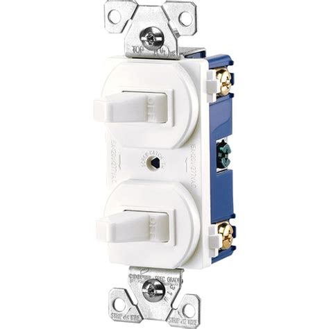 eaton commercial grade single pole 2 toggle switches with back and side wiring white
