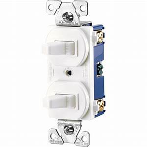 Eaton Commercial Grade 15 Amp Single Pole 2 Toggle Switches With Back And Side Wiring In White