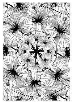 Coloring page flower wreath digital download file print