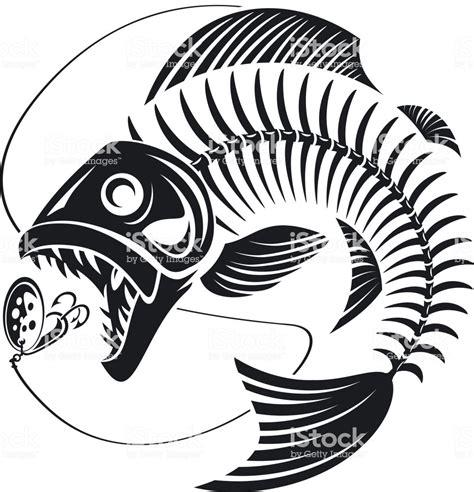 skeleton fish attack fishing lure stock illustration