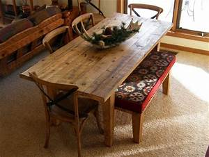 Barnwood dining table and bench by rockyblue for Barnwood kitchen table and chairs