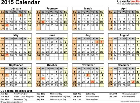 Calendar 2015 With Holidays Template Costumepartyrun