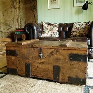 vintage industrial chest storage trunk coffee table mid With industrial trunk coffee table