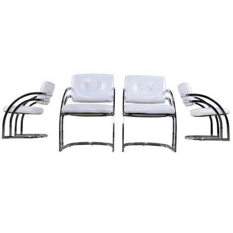 post modern chrome cantillevar dining room chairs at 1stdibs