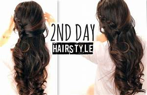 CUTE 2ND DAY HAIR CROSSOVER BRAIDS HAIRSTYLES TUTORIAL CURLY HALF UP FOR SCHOOL PROM WEDDING