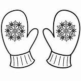 Mittens Coloring Mitten Winter Pages Snowflake Clipart Printable Sheets Sheet Christmas Gloves Template Drawing Snowflakes Snowman Pattern Colouring Clip Kindergarten sketch template