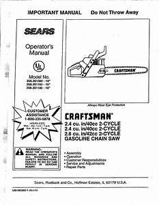 Craftsman Chainsaw 358 351080 User Guide