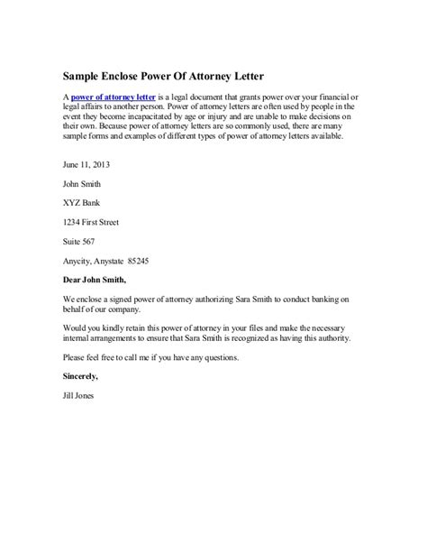sample enclose power  attorney letter