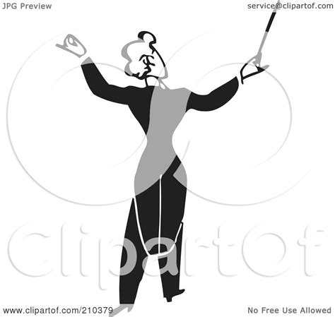 royalty free rf clipart illustration of a retro black and white conductor facing away by