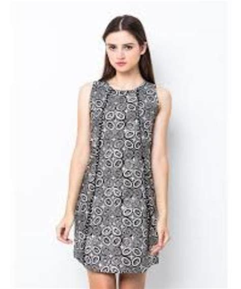 model baju batik terusan selutut kombinasi polos elegan