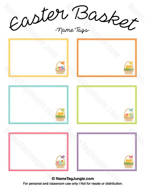 Easter Name Tags Template by Printable Easter Basket Name Tags