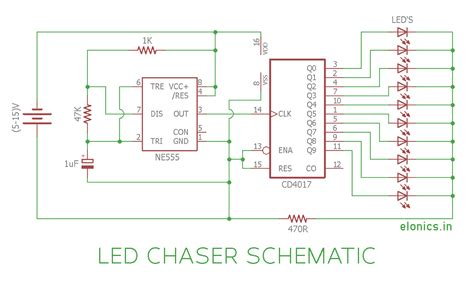 led chaser circuit sequential led flasher using 4017 ic and 555 timer elonics