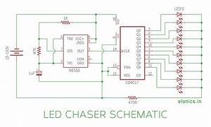 Led Chaser Circuit    Sequential Led Flasher Using 4017 Ic