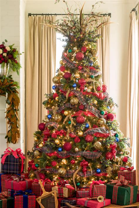 christmas tree decorating ideas with plaid ribbon new ideas for tree garland southern living