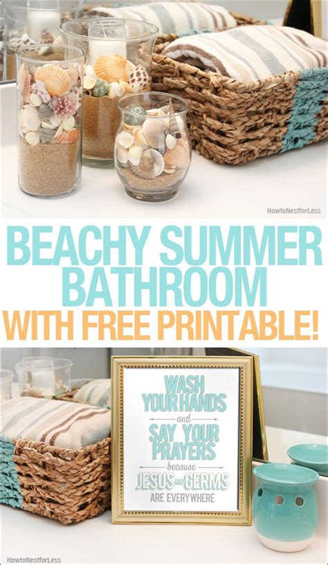 Free Bathroom Makeover by Beachy Summer Bathroom Makeover Free Bathroom Printable