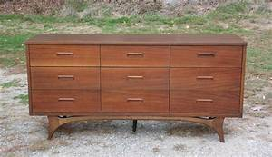 Vintage, Johnson, Carper, Mid, Century, Modern, 9, Drawer, Dresser, Walnut, Credenza