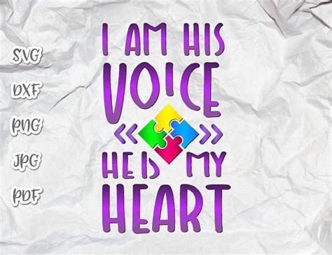 There is also a version this is a digital download of a word art vinyl decal cutting file, which can be imported to a number of paper crafting programs like cricut explore. Autism Awareness Autistic Shirt Tee Quote Saying I am His ...