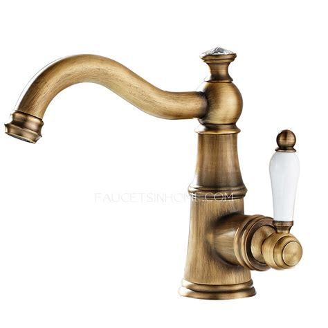 single antique brass porcelain handle bathroom faucets
