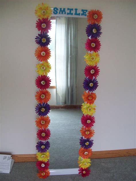 full length mirror decorated  flowers  wooden