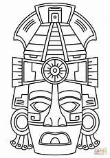 Mayan Mask Coloring Face Masks Maya Pages Drawing Printable Aztec Symbols Crafts Supercoloring Projects Mayans Category Select Template Ancient Cartoons sketch template
