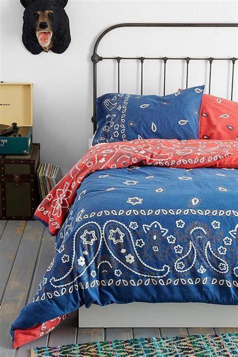 bandana blue and red reversible duvet cover
