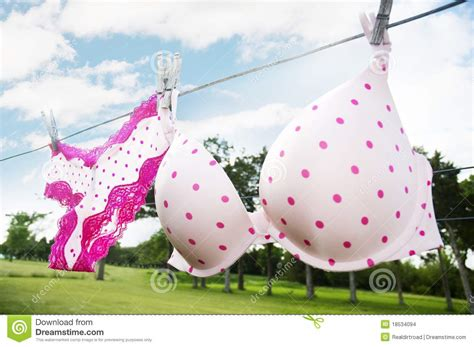 Pink Bra Hanging On Clothesline Royalty-free Stock